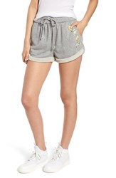 Kendall Kylie Rolled Drawstring Shorts Heather Grey