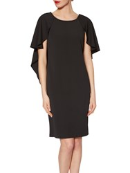 Gina Bacconi Moss Crepe Dress With Cape Detail Black