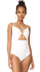 Michael Kors Collection Halter One Piece Swimsuit White