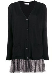 Red Valentino V Tulle Detail Cardigan Black