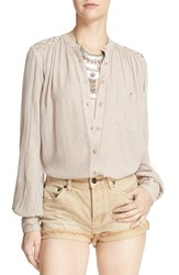 Women's Free People 'The Best' Button Front Blouse Beige
