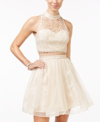 Sequin Hearts Heart Juniors' Lace Crop Top And Ballerina Skirt Set Champagne