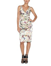 Nicole Miller Abstract Print Pleated Sheath Dress Natural Multi