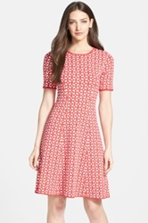 Pink Tartan Tile Print Stretch Knit Fit And Flare Dress Red