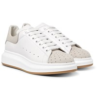 Alexander Mcqueen Exaggerated Sole Leather And Perforated Suede Sneakers White