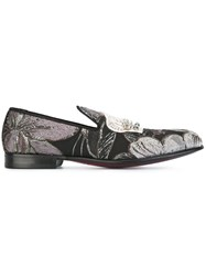 Dolce And Gabbana Embroidered Crown Slippers Black
