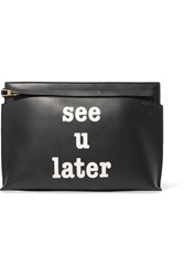 Loewe T Printed Textured Leather Pouch Black