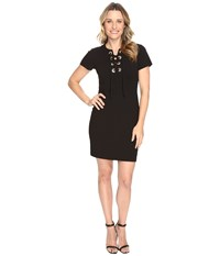 Vince Camuto Short Sleeve Dress With Front Grommet Lace Up Rich Black Women's Dress