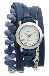 La Mer Women's Collections Stone And Leather Wrap Strap Watch 22Mm Navy White Silver