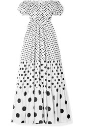 Caroline Constas Bardot Off The Shoulder Polka Dot Cotton Blend Maxi Dress White