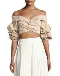 Johanna Ortiz Mestizo Off Shoulder Sateen Crop Top Beige