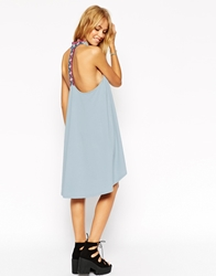 Asos Dipped Hem Swing Dress In Acid Wash With Embroidered Strappy Back Blue