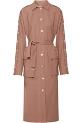 Tibi Embellished Satin Twill Trench Coat Beige