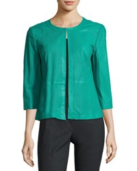 Lafayette 148 New York 3 4 Sleeve Perforated Leather Swing Jacket Turquoise