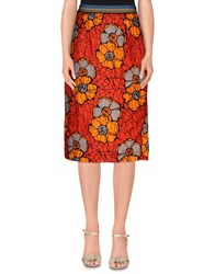 Rose' A Pois Skirts 3 4 Length Skirts Women Red