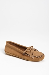 Minnetonka 'Kilty' Suede Moccasin Taupe Suede