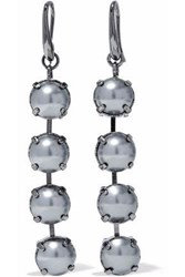 Valentino Gunmetal Tone Stone Earrings Gray