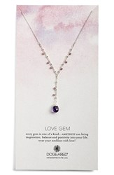 Women's Dogeared 'Love Gem' Semiprecious Stone Y Necklace Lilac Silver