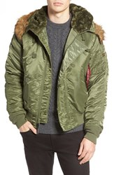 Alpha Industries Men's N 2B Short Hooded Parka Sage Green