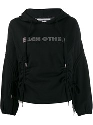Each X Other Logo Embellished Hoodie With Drawstring Detailing Black