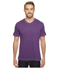 Robert Graham Nomads Short Sleeve Knit T Shirt Heather Purple Men's Short Sleeve Pullover
