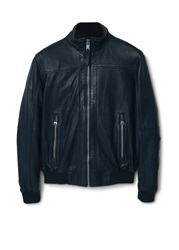Mango Berpy Zip Leather Jacket Black