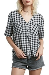 Volcom 'S Pick It Up Gingham Top Black