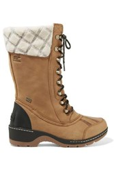 Sorel Whistler Wool Trimmed Waterproof Leather Boots Tan