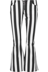 Marques' Almeida Cropped Striped Cotton Poplin Flared Pants Black