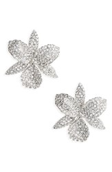 Nina Women's Large Orchid Stud Earrings Silver