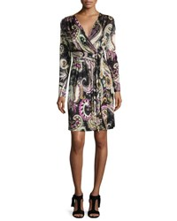 Etro Long Sleeve Paisley Wrap Dress Black