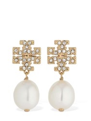 Tory Burch Kira Pave Pearl Earrings Gold