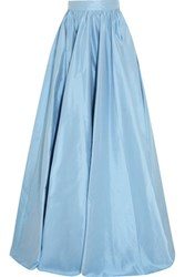 Jenny Packham Pleated Silk Satin Maxi Skirt Sky Blue