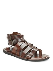 Saks Fifth Avenue Made In Italy Leather Gladiator Sandals Marrone