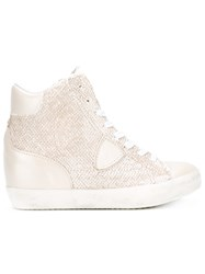 Philippe Model Metallic Hi Top Sneakers Nude Neutrals