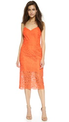 Cynthia Rowley Spaghetti Strap Boho Lace Dress Vermillion