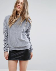 Pull And Bear Pullandbear Gathered Sleeve Jumper Grey