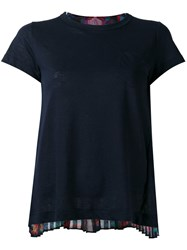 Sacai Crochet Lace Printed T Shirt Blue