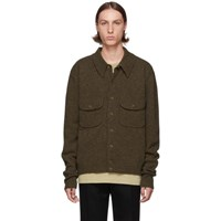 Christophe Lemaire Brown Knitted Military Shirt Jacket