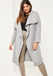 Missguided Plus Size Grey Oversized Waterfall Duster Coat