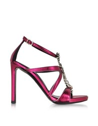 Roberto Cavalli Tassel Raspberry Metallic Leather Sandal Pink