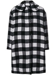 Peter Jensen Raw Edge Check Coat Black