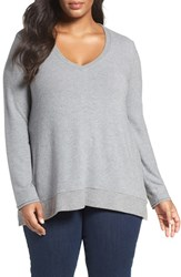 Three Dots Plus Size Women's V Neck Sweater Granite