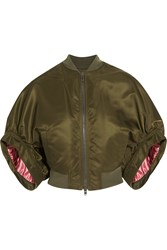 Givenchy Cropped Bomber Jacket In Army Green Satin