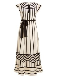 Red Valentino Contrast Trimmed Point D'esprit Dress Ivory Multi