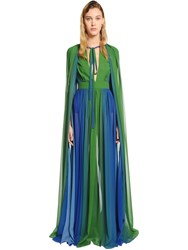 Elie Saab Gradient Crepe Georgette Long Dress Blue Green