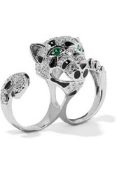 Cz By Kenneth Jay Lane Silver Tone Crystal And Enamel Two Finger Ring Silver