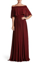 Dress The Population Women's Violet Off Shoulder Chiffon Gown Burgundy