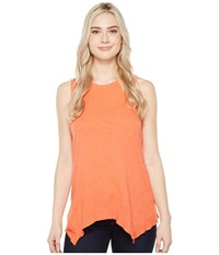 Dylan By True Grit Soft Slub Cotton Hanky Hem Tank Top Washed Coral Women's Sleeveless Red