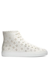 Simone Rocha Flower Embellished High Top Trainers White